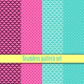 Black and white seamless monster wallpaper texture with pink, blue. Fashion, bright, dots,  lines, checkered cell. Girls Paris Monster party, gothic party, halloween. Hot swatches global colors.Vector — Stock Vector