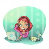 Business cartoon woman hard working in office. Many tasks concept, Vector illustration clip art — Stock Vector