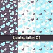 Cute valentine's seamless tile pattern swatches with hearts. Vector set — Vetorial Stock