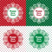 Happy New Year and Merry christmas card with snowflakes, vector illustration — Stock Vector