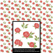 Beautiful flower red rose seamless tile pattern for wallpaper or background, vector clip art illustration — Stock Vector