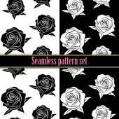 Beautiful flower black and white rose seamless tile pattern for wallpaper or background, vector clip art illustration — Stock Vector