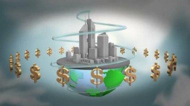 Urban world with dollars. — Stock Video