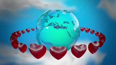 Earth with rotating hearts — Stock Video