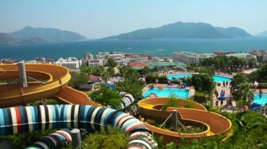 Aqua Park in Turkey. Summer time. — Wideo stockowe
