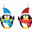 Two Penguins Santa Claus — Stockvector  #82272582