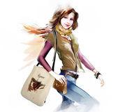 Brunette woman holding bag — 图库照片