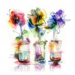 Abstract flowers in glass vases — Stock Photo #69078007