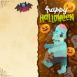 Happy Halloween card with Zombie — Stock Vector #52095251