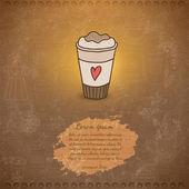 Doodle coffee latte cup — Stock Vector