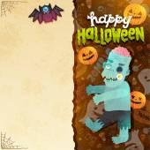 Happy Halloween card with Zombie — Stock Vector
