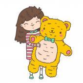 Girl hugging bear toy — Stock Vector