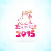 Happy New Year background with goat — Stock Vector