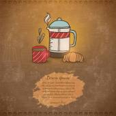 Coffee french press pot and cup — Stock Vector