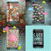 Cute doodle patterns on smart phones — Wektor stockowy