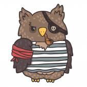 Cute cartoon owl pirate — Stok Vektör