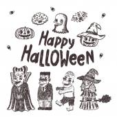 Happy Halloween sketch characters — Stock Vector
