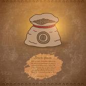 Doodle coffee bean bag — Stock Vector