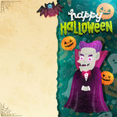 Happy Halloween card with Dracula — Stock Vector