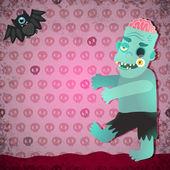 Cartoon zombie and bat. — Stock Vector
