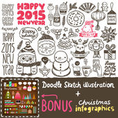 Happy New Year doodle — Stock Vector