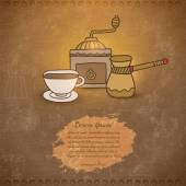 Doodle coffee grinder, cappuccino cup — Stock Vector