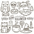 Cute cartoon sketch Happy Halloween — Stock Vector #53511611