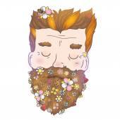 Trendy cartoon hipster man with flower beard. — Stock Vector