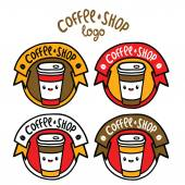 Sevimli çizgi kahve rozeti. — Stok Vektör