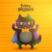 Cute cartoon happy halloween Cat vampire character — Stock Vector
