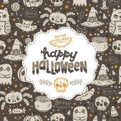 Cartoon sketch Happy halloween holiday pattern — Stock Vector