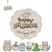 Cartoon sketch Happy halloween holiday pattern and characters set — Vector de stock