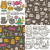 Cartoon sketch Happy halloween holiday pattern and characters set — Vecteur