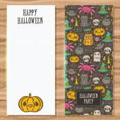 Cartoon sketch Happy halloween party invitation with holiday pattern. — Vector de stock