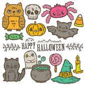 Cute cartoon sketch Happy Halloween — Stock Vector