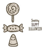 Happy Halloween candy, corn and lollipop — Stock Vector