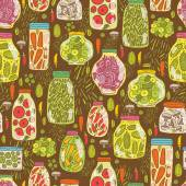 Seamless  pattern with pickled vegetables — Stock Vector
