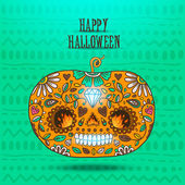 Day of The Dead colorful Happy halloween pumpkin — Stock Vector