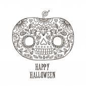 Day of The Dead Happy halloween pumpkin skull — Stock Vector