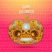 Day of The Dead colorful Happy halloween pumpkin — Vector de stock