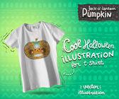 White t-shirt mock up with Day of The Dead Happy halloween pumpkin skull — Stok Vektör