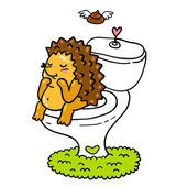 Cute little cartoon hedgehog at the toilet. — Stock Vector