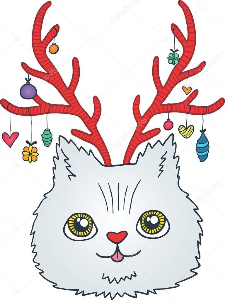 Gato de dibujos animados lindo Navidad con cuernos de ciervo \u2014 Vector de stock 53914927