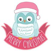 Christmas owl in Santa hat with ribbon — Stock Vector