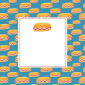 Cute cartoon hot dog card for 18 July. — Stock Vector