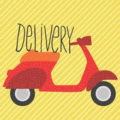 Red vintage scooter, delivery illustration — Stock Vector