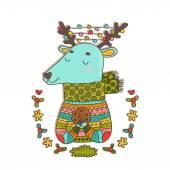 Merry Christmas cartoon deer — Stock Vector