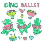 Cartoon dino ballerinas — Stock Vector