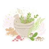 Bowl with medicinal herbs — Stock Vector