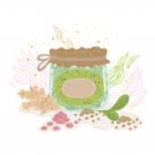 Jar with medicinal herbs — Stock Vector
